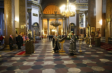 Russian Orthodox Mass in Kazan Cathedral, St. Petersburg, Russia, Europe