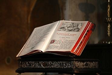 Latin Bible, Saint Salvators Cathedral, Bruges, West Flanders, Belgium, Europe