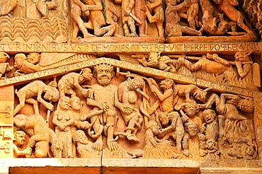 Detail of the tympanum depicting the Last Judgment and Hell, Sainte-Foy de Conques abbey church, Conques, Aveyron, Midi-Pyrenees, France, Europe