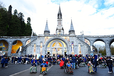Gathering at Notre-Dame-du-Rosaire's basilica in the city of Lourdes, Hautes-Pyrenees, France, Europe