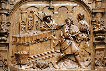 Depiction of travelling scenes in the stalls of the Goillon's Chapel dating from the beginning of the 16th century, Basilica of St. Denis, Seine-St. Denis, Paris, France, Europe
