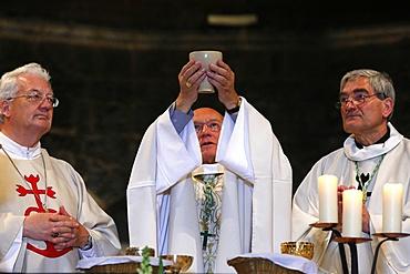 Mass in Les Saintes-Maries-de-la-Mer church, Bouches du Rhone, France, Europe