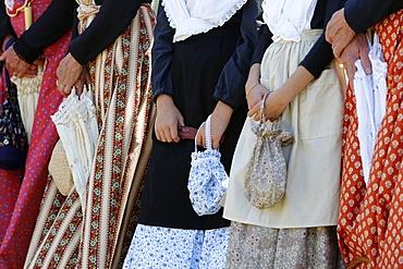 Women wearing traditional costumes at Les Saintes-Maries-de-la-Mer, Bouches-du-Rhone, Provence, France, Europe