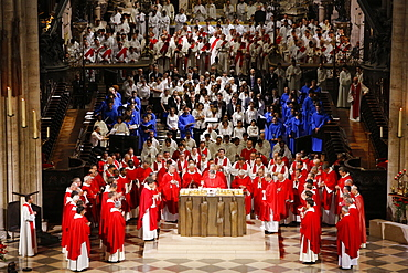 Priest ordinations celebrated by Cardinal Andre Vingt-Trois, in Notre-Dame de Paris cathedral, Paris, France, Europe