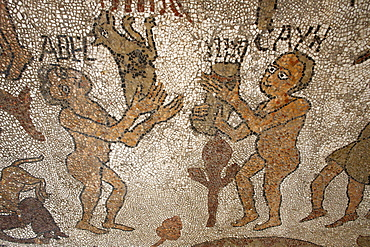 Mosaic of Abel and Cain offering presents to God on the floor of the central nave, Otranto duomo (cathedral), Otranto, Lecce, Apulia, Italy, Europe