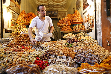 Sweets and pastries on market stall, Marrakech, Morocco, North Africa, Africa