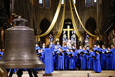 The new bronze bells are displayed in the nave during a ceremony of blessing on the 850th anniversary, Notre Dame de Paris, Paris, France, Europe