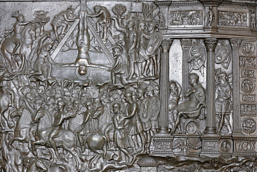 Detail of a portal of the Crucifixion of St. Peter, front entrance door of St. Peter's Basilica, Vatican, Rome, Lazio, Italy, Europe
