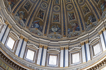 Dome and frescoes in St. Peter's Basilica, Vatican, Rome, Lazio, Italy, Europe