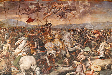The Battle of the Milvian Bridge in the Hall of Constantine, 1613, by Raphael, Vatican Museum, Vatican, Rome, Lazio, Italy, Europe