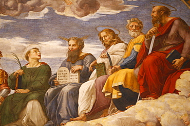 Detail of painting of the Disputation over the Most Holy Sacrament, 1509-1510. Raphael, Room of the Segnatura, Vatican Museum, Vatican, Rome, Lazio, Italy, Europe