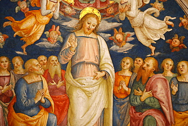 Detail of the ceiling showing Jesus and the Apostles, Room of the Fire in the Borgo, Vatican Museum, Vatican, Rome, Lazio, Italy, Europe