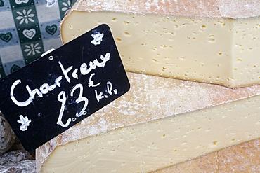 Cheese on a market stall, Saint-Gervais-les-Bains, Rhone-Alpes, France, Europe