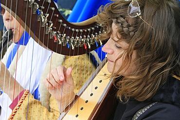 Harpist in the medieval festival of Provins, Seine-et-Marne, France, Europe