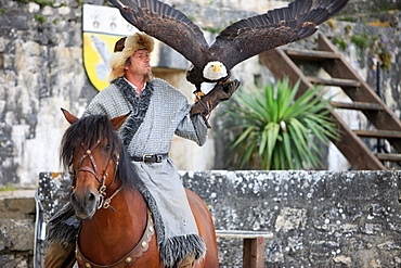 Hawker and the legend of the knights during the medieval festival of Provins, UNESCO World Heritage Site, Seine et Marne, France, Europe