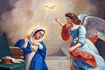 Annunciation painting in Nossra Senhora da Conceicao church, Cidade Baixa, Salvador, Brazil, South America