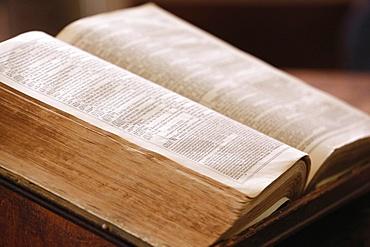 Old Bible in English, Geneva, Switzerland, Europe