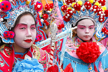 People wearing traditional costumes, Chinese New Year, Paris, France, Europe