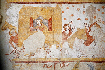 Mural of Noah's Ark and The Flood, dating from the 12th to 16th centuries, Church of Moutiers, Yonne, Burgundy, France, Europe