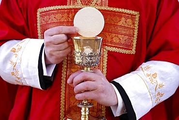Celebration of the Eucharist, Catholic Mass, Villemomble, Seine-Saint-Denis, France, Europe