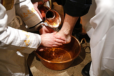 Washing of the Feet, Maundy Thursday celebration, Villemomble, Seine-Saint-Denis, France, Europe