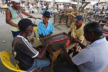 Domino players in Santo Amaro, Bahia, Brazil, South America