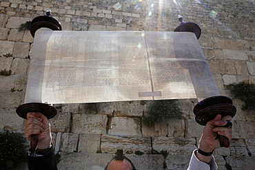 A ceremonial reading of the Torah from Torah scroll under the Western Wall, Jerusalem, Israel, Middle East