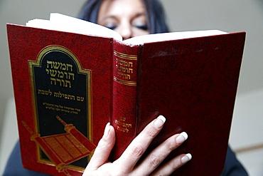 Woman reading the Torah, Jerusalem, Israel, Middle East