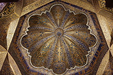Ceiling of the mihrab of the Mosque (Mezquita) and Cathedral of Cordoba, UNESCO World Heritage Site, Cordoba, Andalucia, Spain, Europe