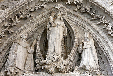 Virgin and Child flanked by her parents Ann and Joachim, Rosary Chapel, Sagrada Familia Basilica, Barcelona, Catalonia, Spain, Europe