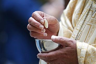 Holy Communion, Catholic Mass, Haute-Savoie, France, Europe