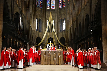 Eucharist celebration, Catholic priest ordinations at Notre Dame cathedral, Paris, France, Europe