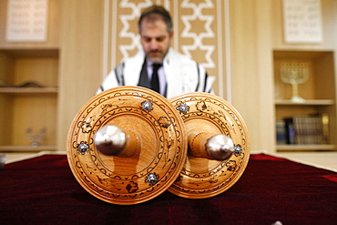 Torah scroll, Beth Yaacov Synagogue, Paris, France, Europe