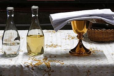 Eucharist, water and wine, St. Anne's Basilica, Brazzaville, Congo, Africa