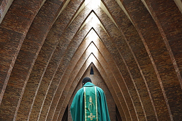 Priest during Catholic Mass, St. Anne's Basilica, Brazzaville, Congo, Africa