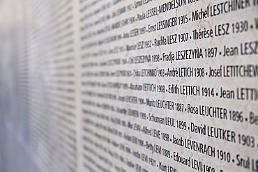 The Wall of Names, The Shoah Memorial, Paris, France, Europe