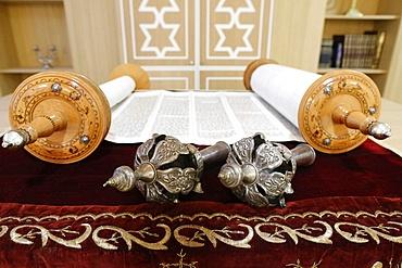Torah scroll and the two Rimonim, Paris, France, Europe