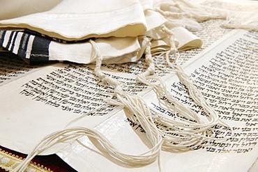 Torah scroll and Tallit, Jewish prayer shawl, Paris, France, Europe