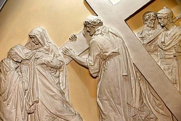 Fourth Station of the Cross, Jesus meets his mother., St. John the Baptist's Church, Arras, Pas-de-Calais, France, Europe