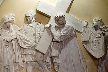 Sixth Station of the Cross, Veronia wipes the face of Jesus, St. John the Baptist's Church, Arras, Pas-de-Calais, France, Europe