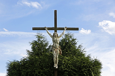 Countryside crucifix, Somme, France, Europe