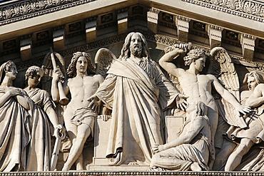 Detail of the Final Judgment, La Madeleine Catholic church pediment, Paris. France, Europe