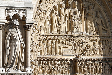 Statue of the Synagogue, St. Anne portal, Western facade, Notre Dame de Paris Cathedral, Paris, France, Europe