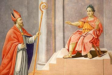 St. Nicolas pronounce a judgment of Solomon, St. Nicolas de Veroce church, Haute-Savoie, France, Europe