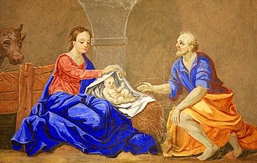 Nativity, St. Nicolas de Veroce church, Haute Savoie, France, Europe