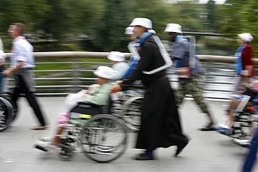 Disabled in Lourdes, Lourdes, Hautes Pyrenees, France, Europe