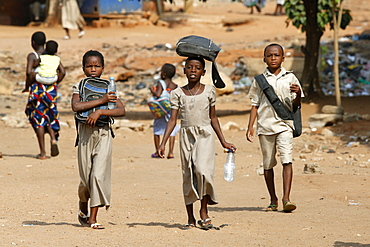 Pupils on their way to school, Lome, Togo, West Africa, Africa
