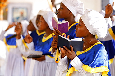 Choir singing, Sunday celebration at the Celestial Church of Christ, Missessinto, Atlantique, Benin, West Africa, Africa