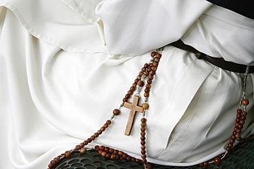 Sitting nun, Lourdes, Hautes Pyrenees, France, Europe