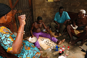 Fortune telling by a Fa in Ouidah, Benin, West Africa, Africa